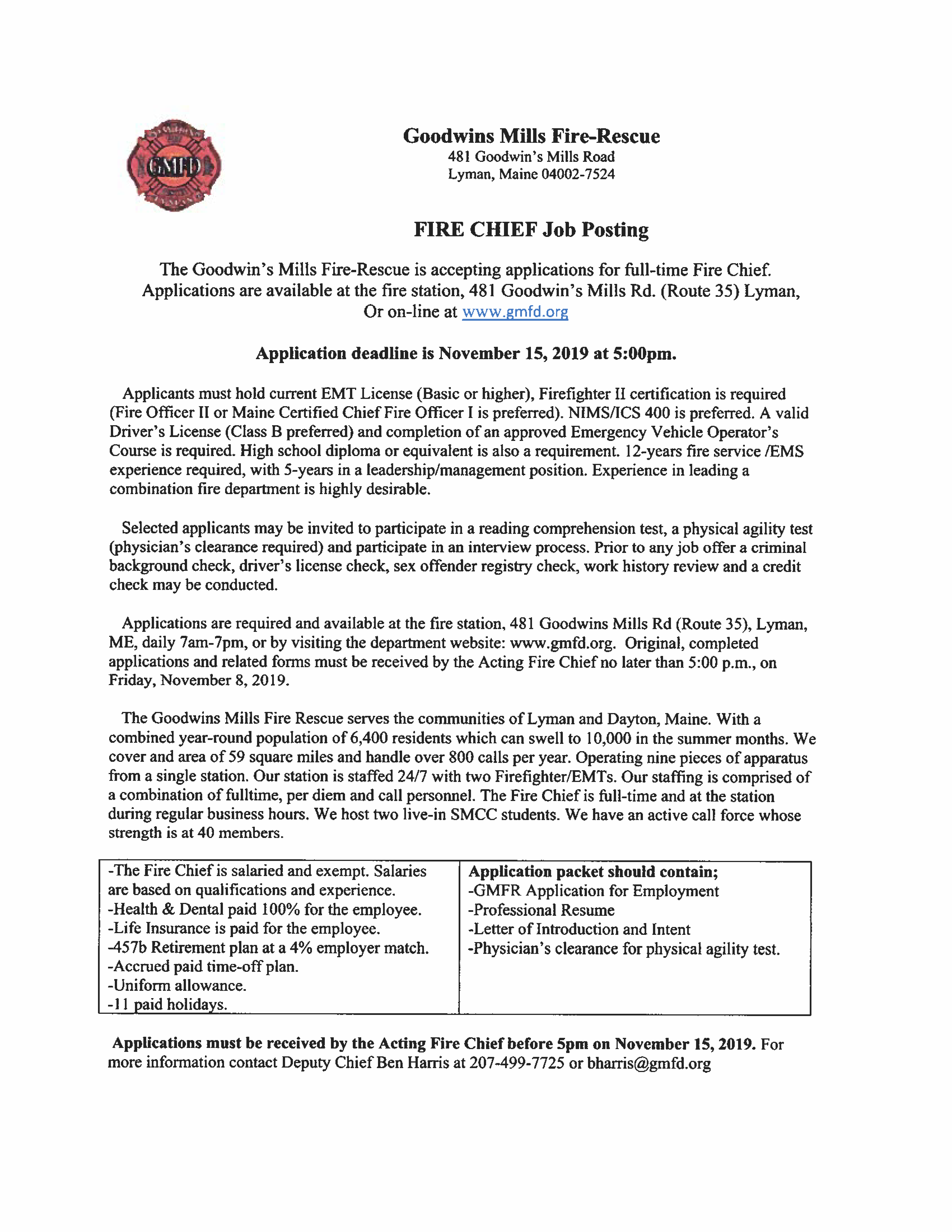 Fire Chief Application And Information Packet Page 1 Maine Fire