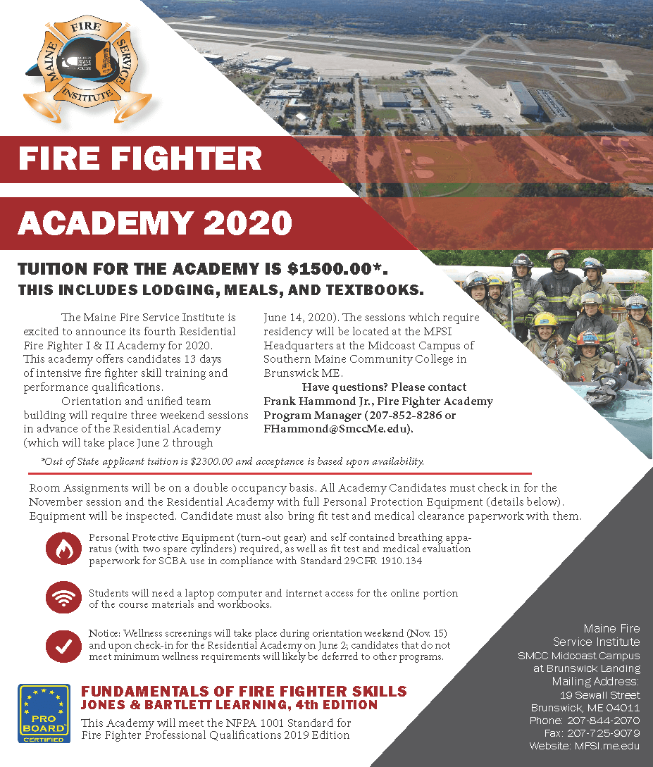 Fire Fighter I & II Residential Academy 2020 - Maine Fire